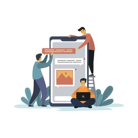 Flat Illustration of creative team working on app Development Banque d'images - 132912997