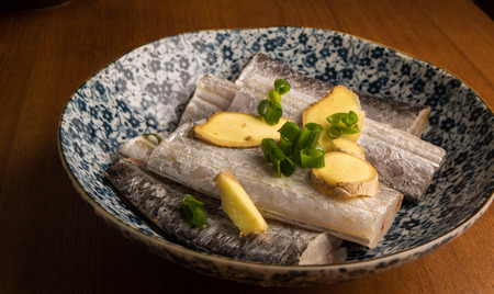 raw fish slice with ginger Banco de Imagens