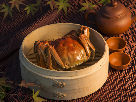 Hairy crabs in bamboo basket