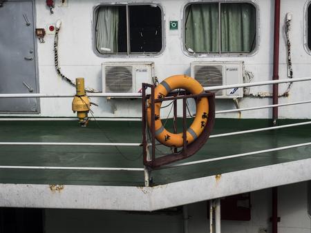 Life buoy on a ship Banco de Imagens