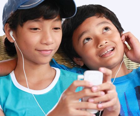 2 kids music sharing Stock Photo - 5210437