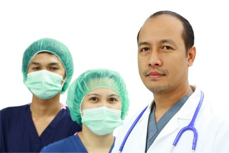 asian doctor and nurses
