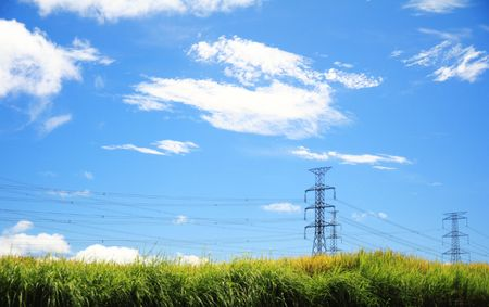 powerlines in blue sky background