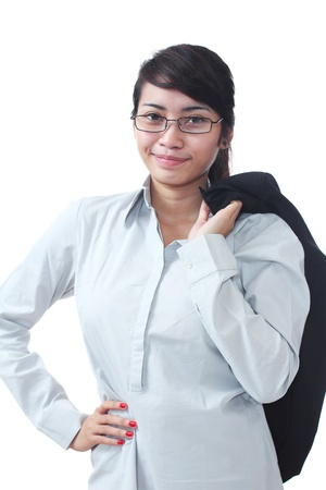 succesful: Image of a young confident asian businesswoman isolated in white background