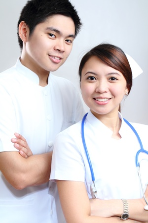 Young asian nurses in white uniform