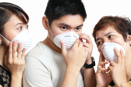 disease prevention: Portrait of people wearing protective mask