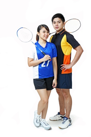 Young asian athletic couple isolated in solid background. Stock Photo - 12022780