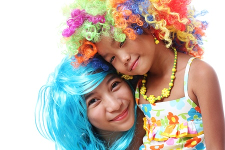 hairpiece: friends wearing colorful funny hairpiece.