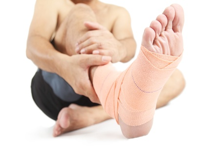 sprain: Close up of a foot with bandage.