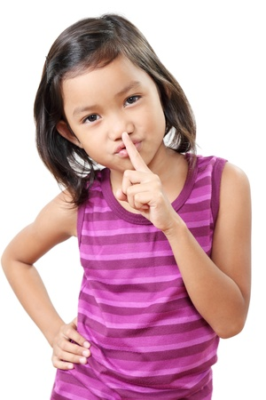 child finger: Young girl gesturing for silence.In white background.