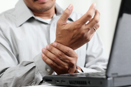 carpal tunnel: Man with hand pain.Close up. Stock Photo