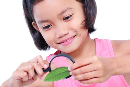 Young girl examining a leaf with a magnifying glass. 版權商用圖片