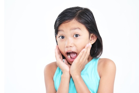 Young asian girl with surprised expression. 版權商用圖片
