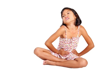 dolor de estomago: Retrato de una joven con dolor de estómago.