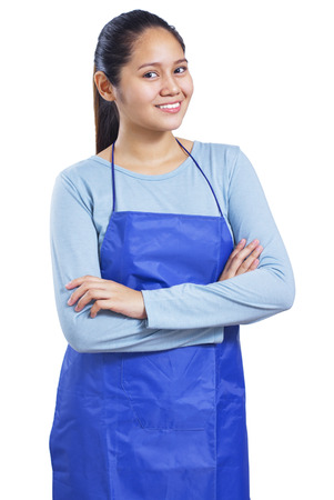 housemaid: Portrait of a happy and smiling young housekeeper. Isolated in white background.