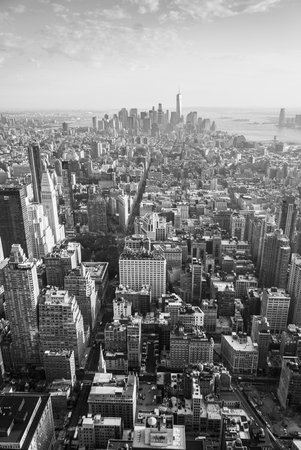 manhattans: Aerial view of Manhattans midtown and downtown in black and white