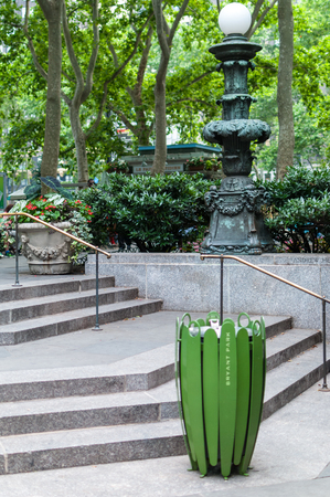 Trash can in the Bryant Park entrance