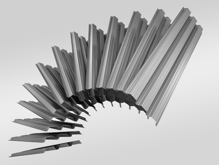 Array of corrugated sheet metal profiles on grey background, 3D illustration