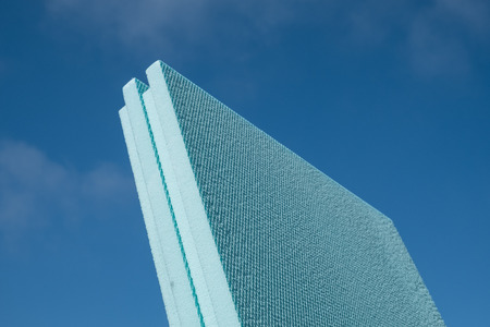 XPS polystyrene insulation board with blue sky in the background
