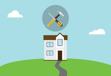 house repair maintenance symbol icon with hammer and screw driver on top vector Illustration