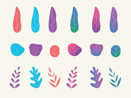 平らなグラデーションと滑らかな色のベクトルのイラストを持つファンタジープランテーションまたは木のセットコレクション