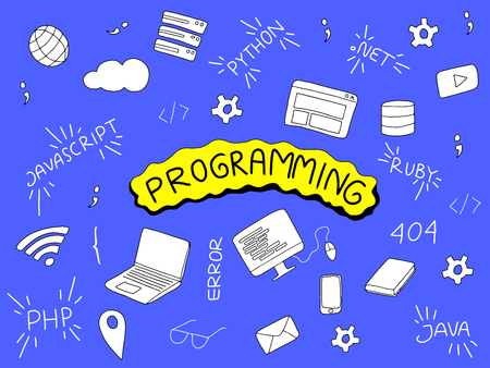 programming doodle illustration with programmer tools and popular language