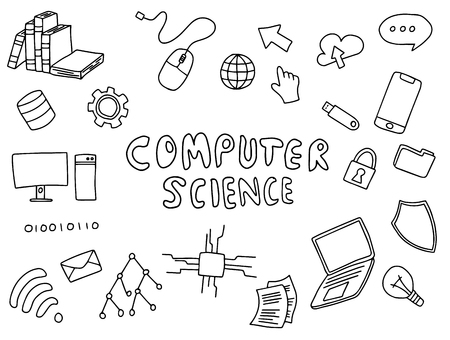 computer science engineering education doodle art with black and white color outline vector illustration 矢量图像