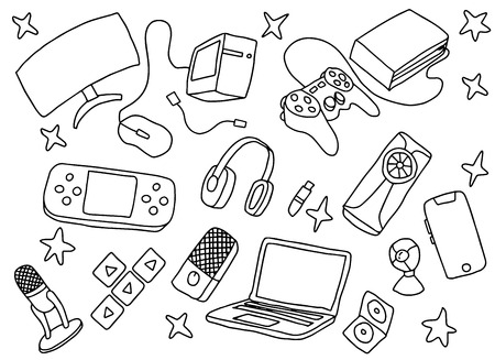 doodle games game art with gaming tools hardware and black and white color vector illustration