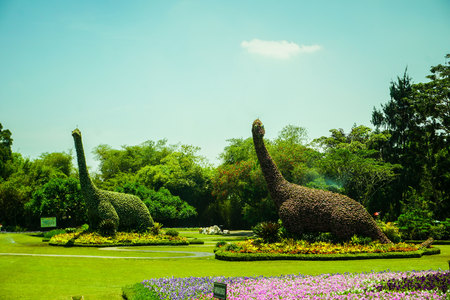brontosaurus replica statue made from natural green forest and tree with clear sky - photo indonesia Stock Photo