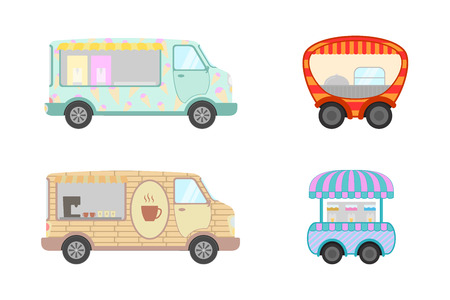 food truck collection with ice cream and coffee and drinking food - vector illustration Illustration