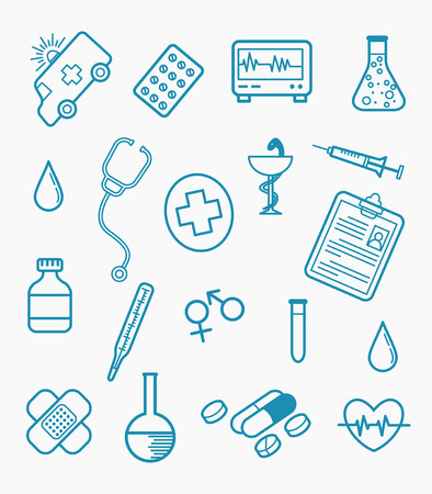 healthcare line style medical doodle set collection with flat cartoon style - vector illustration Illustration
