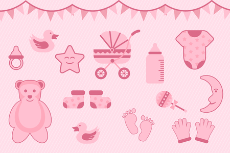 baby shower greeting with pink color with various objects - vector