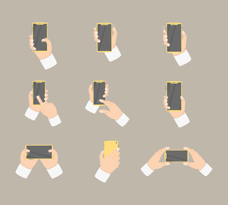 hand collection holding smartphone with various style - vector