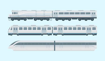 Modern train collection with 3 models option - vector illustration Vettoriali