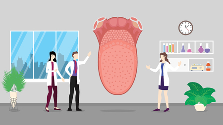 human tongue health care checkup analysis identifying by doctor people on the hospital - vector illustration Çizim