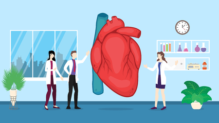 human heart health care checkup analysis identifying by doctor people on the hospital - vector illustration Çizim