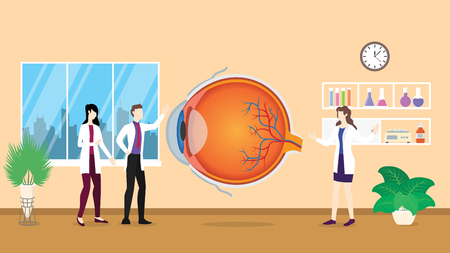 human eye health care checkup analysis identifying by doctor people on the hospital - vector illustration 向量圖像