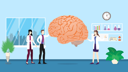 human brain health care checkup analysis identifying by doctor people on the hospital - vector illustration Çizim