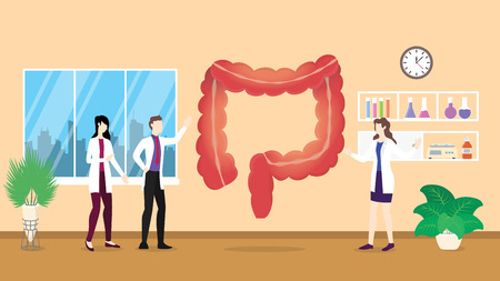 human colon health care checkup analysis identifying by doctor people on the hospital - vector illustration Çizim