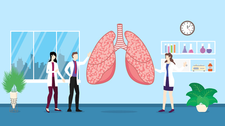 human lungs health care checkup analysis identifying by doctor people on the hospital - vector illustration