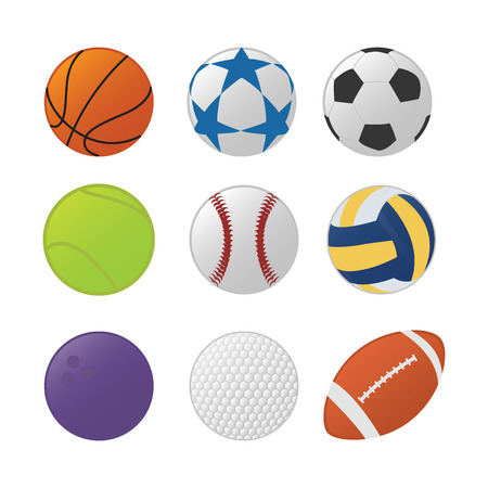 various sport ball set collection with various type sports and colorfull type - vector illustration