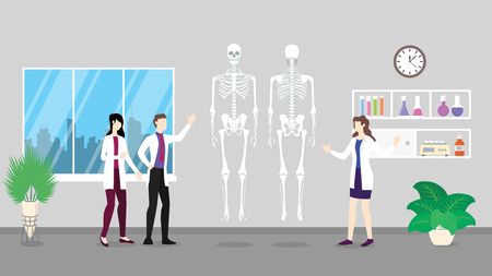 human skeleton anatomy structure health care checkup analysis identifying by doctor people on the hospital - vector illustration 向量圖像