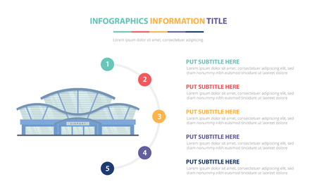 airport building infographic template concept with five points list and various color with clean modern white background - vector illustration Stockfoto - 122378112