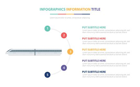 high speed train infographic template concept with five points list and various color with clean modern white background - vector illustration Illustration