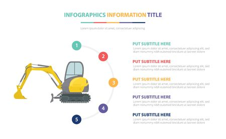 small or mini excavators infographic template concept with five points list and various color with clean modern white background - vector illustration