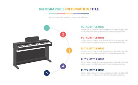 piano infographic template concept with five points list and various color with clean modern white background - vector illustration