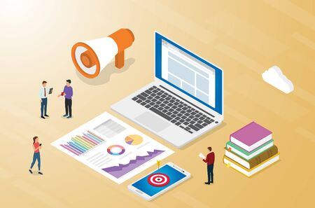 advertising or advertisement business concept with team marketing and graphc chart report analysis - isometric vector illustration Illustration