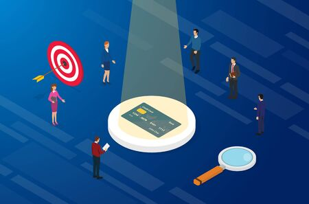 best credit card analysis with finance team analyze between pros and cons with isometric modern flat style - vector illustration