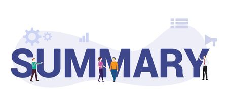 summary concept with big word or text and team people with modern flat style - vector illustration