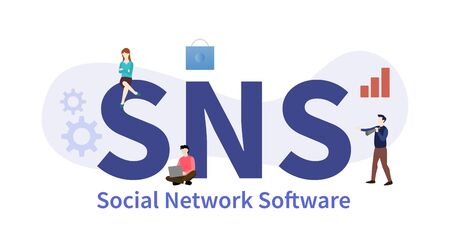 sns social network software concept with big word or text with team people and modern flat style - vector illustration
